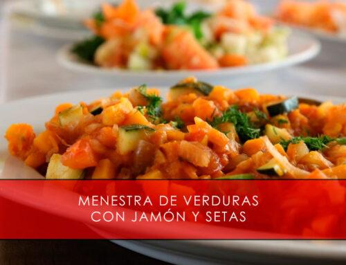 Menestra de verduras con jamón y setas